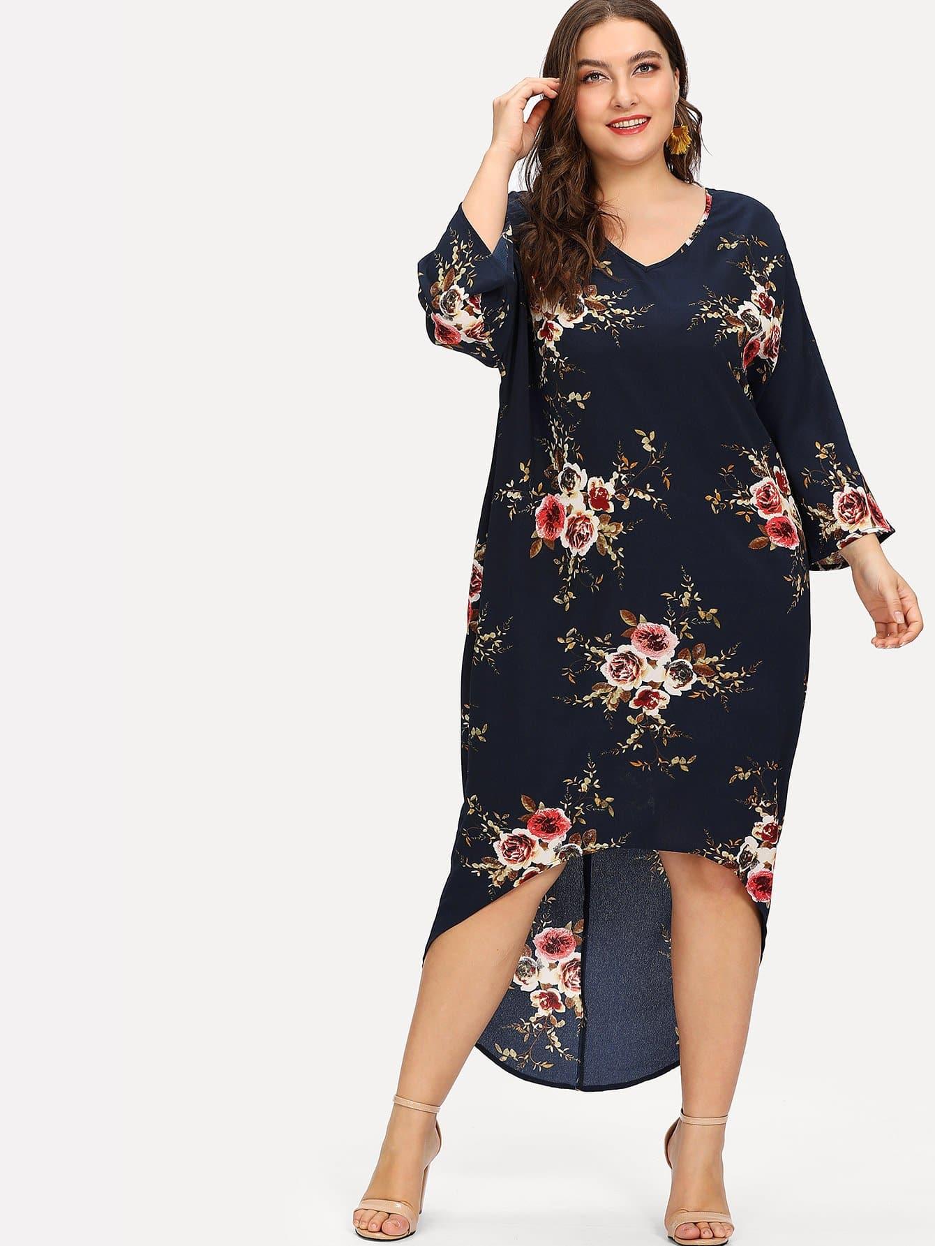 цена на Plus Floral Print Ladder Cutout Back High Low Dress