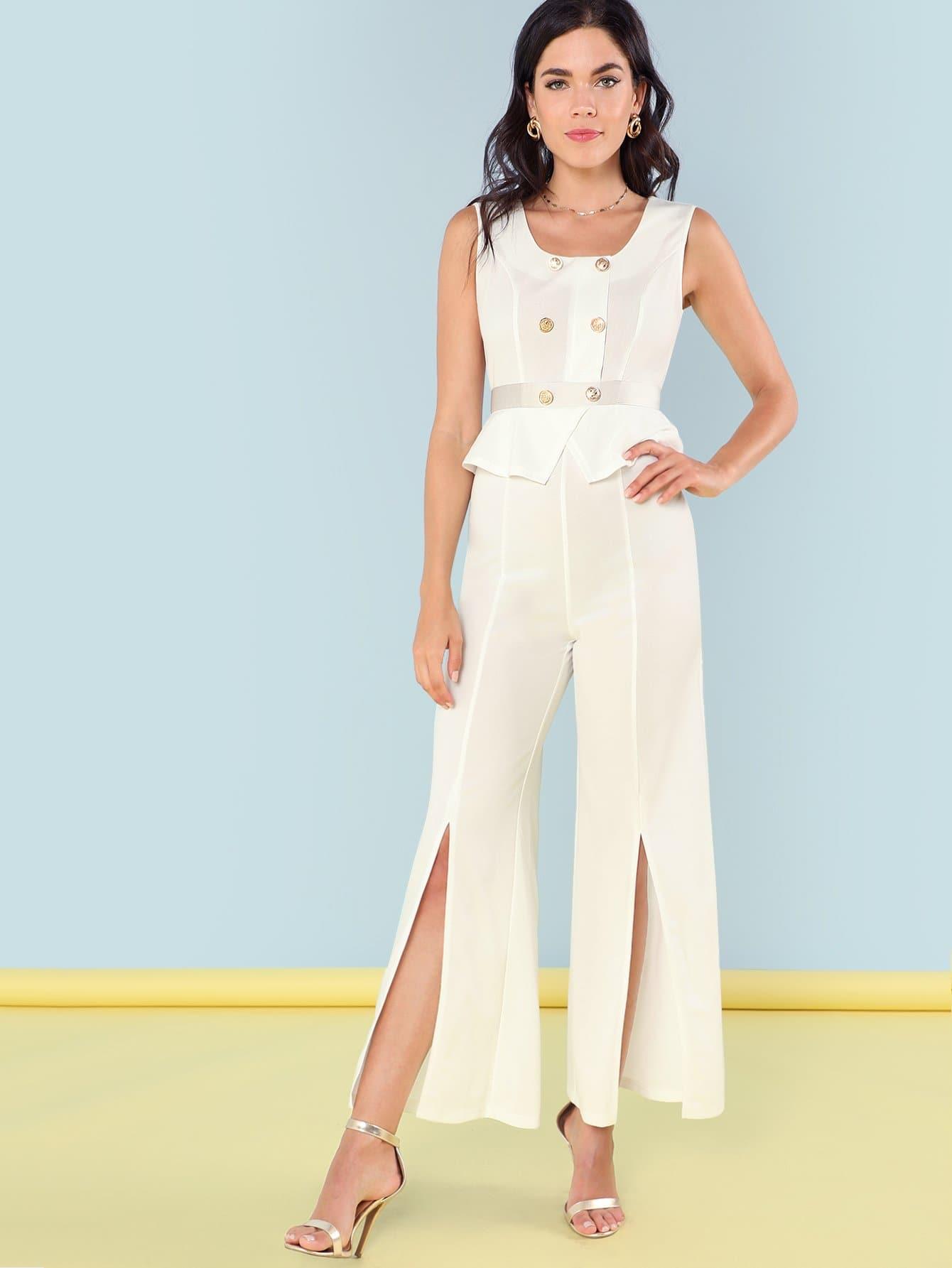 Button Accent Split Hem Jumpsuit floral print split hem jumpsuit