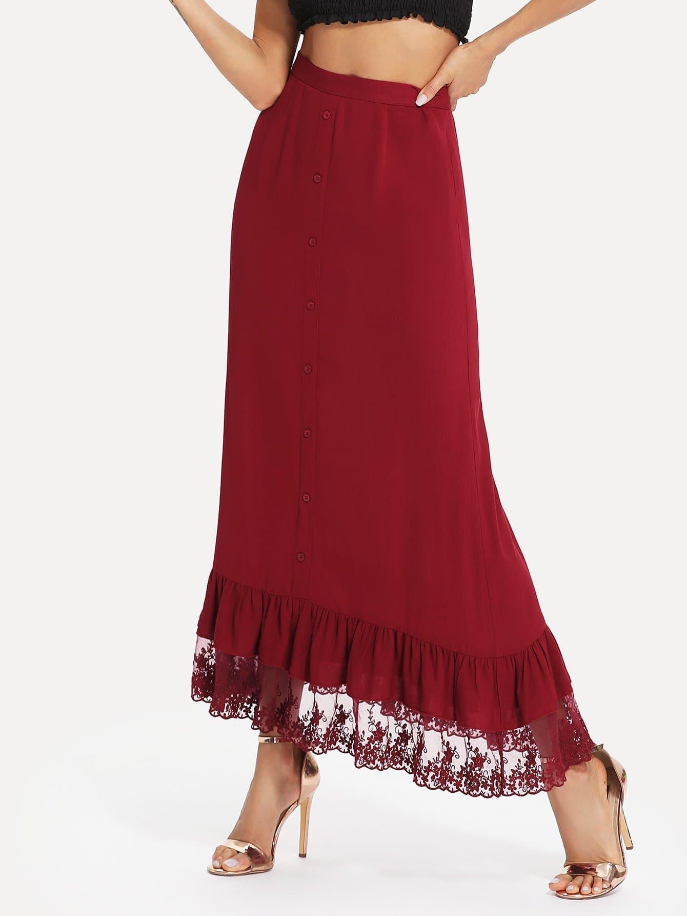 Ruffle and Lace Hem Button Detail Skirt ruffle hem lace skirt