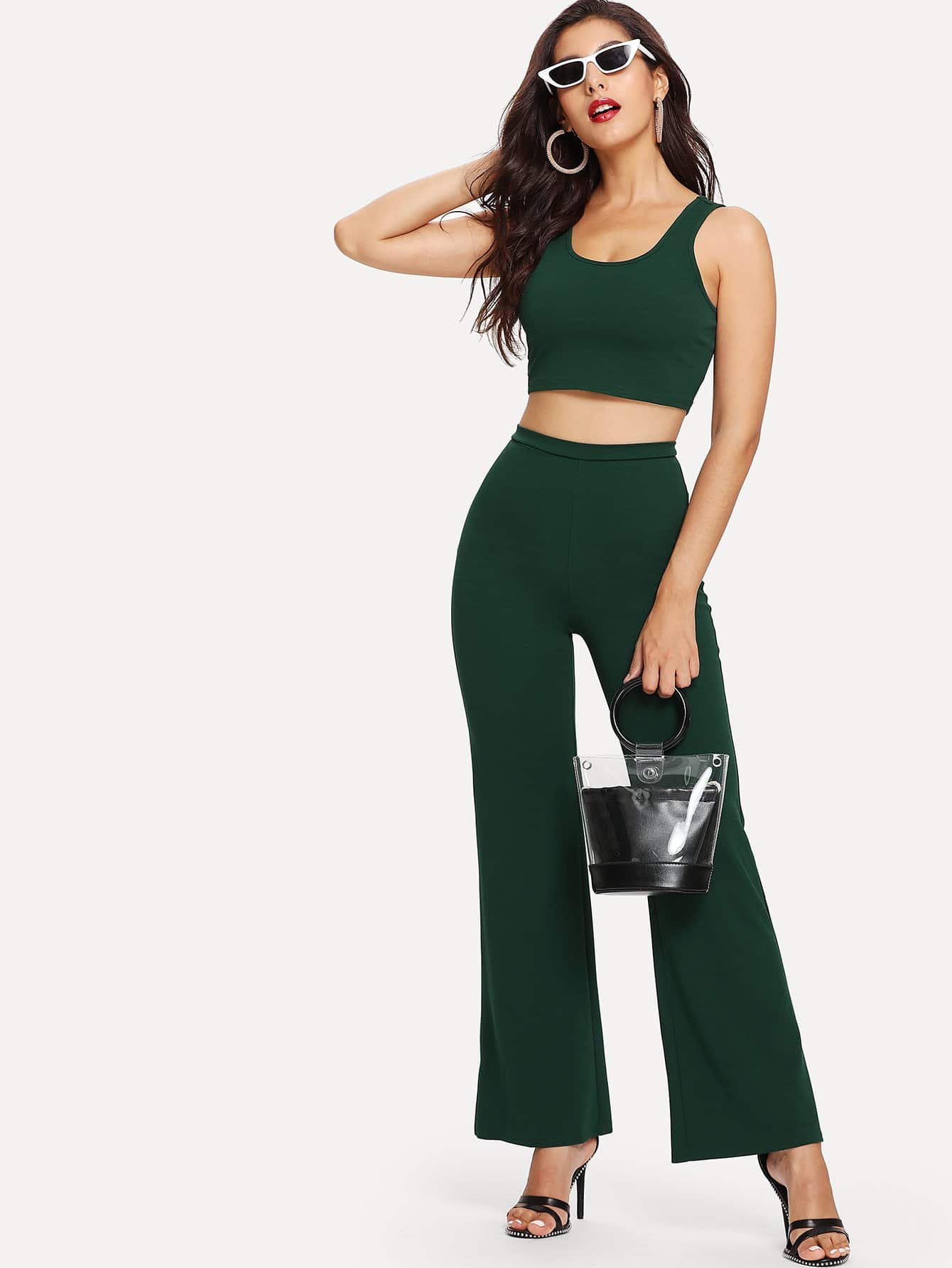 Solid Tank Crop Top & Wide Leg Pants Set wide leg grid crop pants