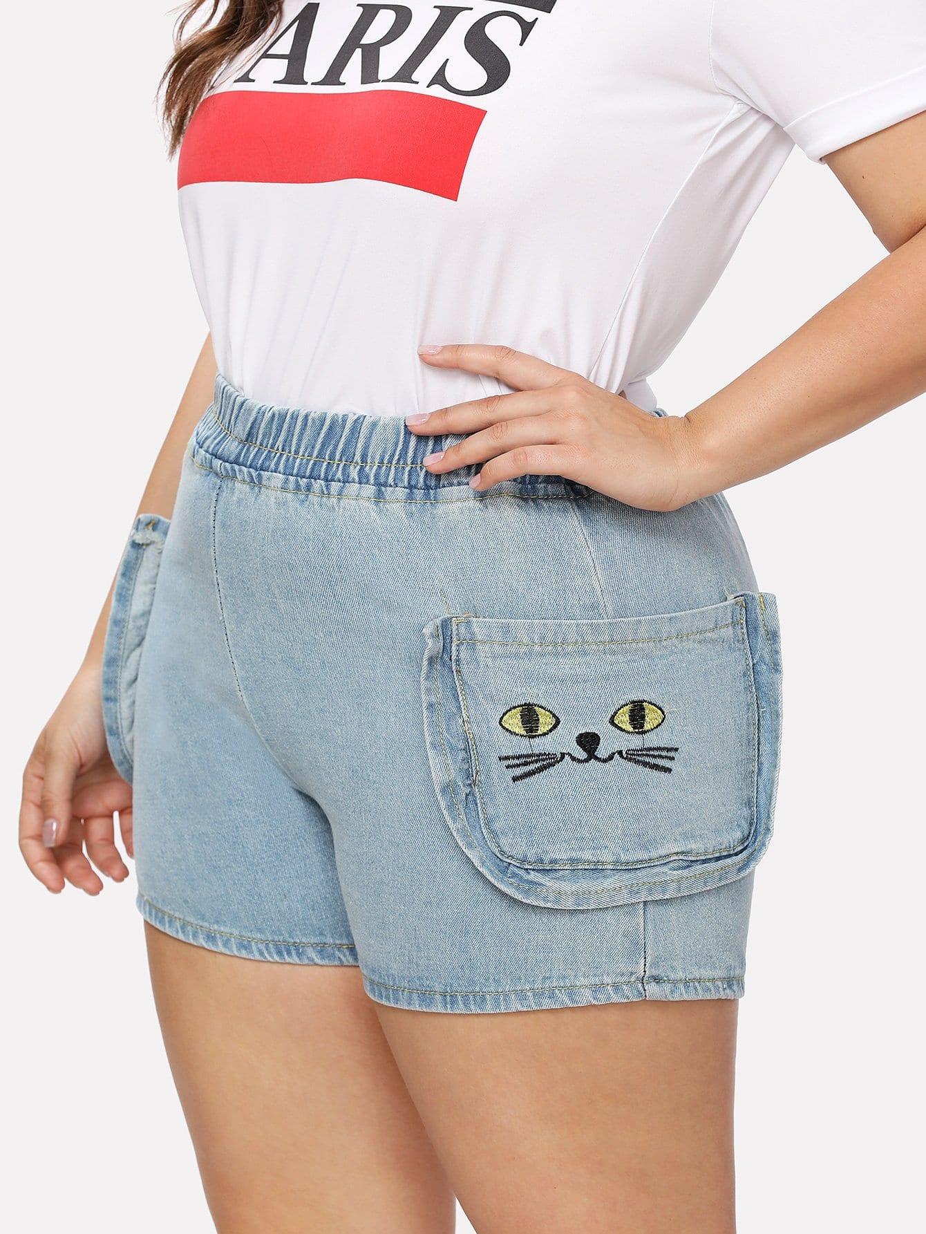 цена на Cat Embroidered Denim Shorts
