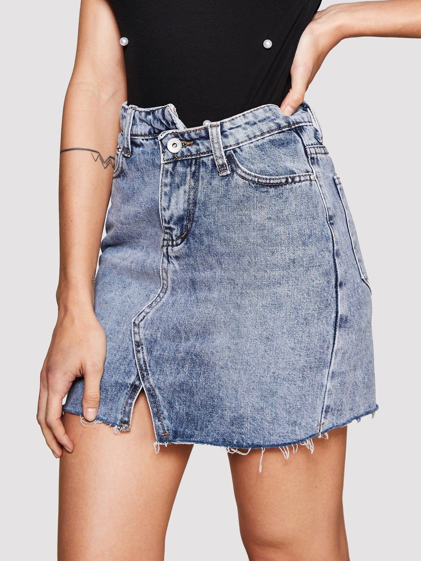 Купить Ассиметричная юбка деним с необработанными краями, null, SheIn
