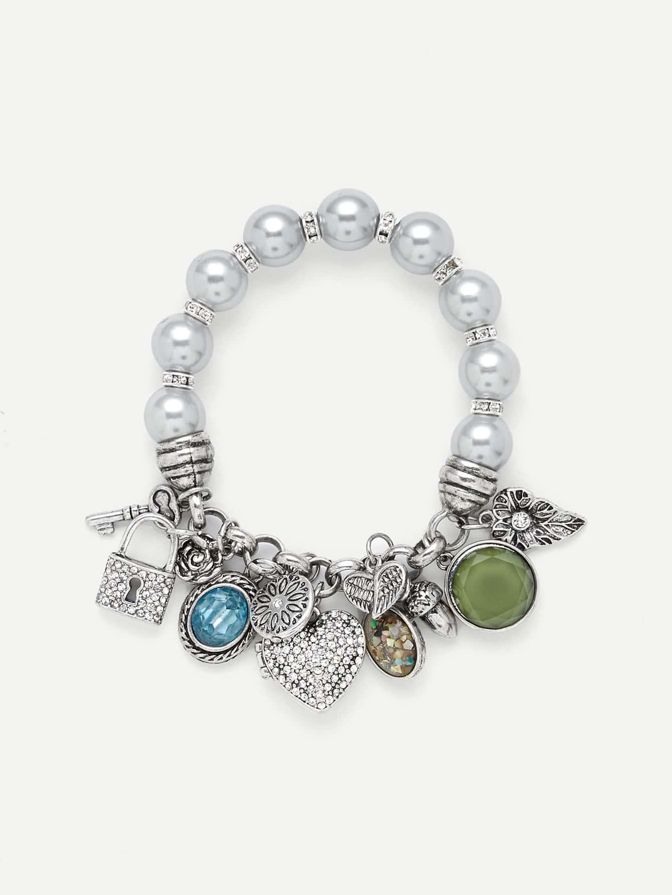 Lock & Heart Detail Beaded Bracelet beaded detail heart charm bangle