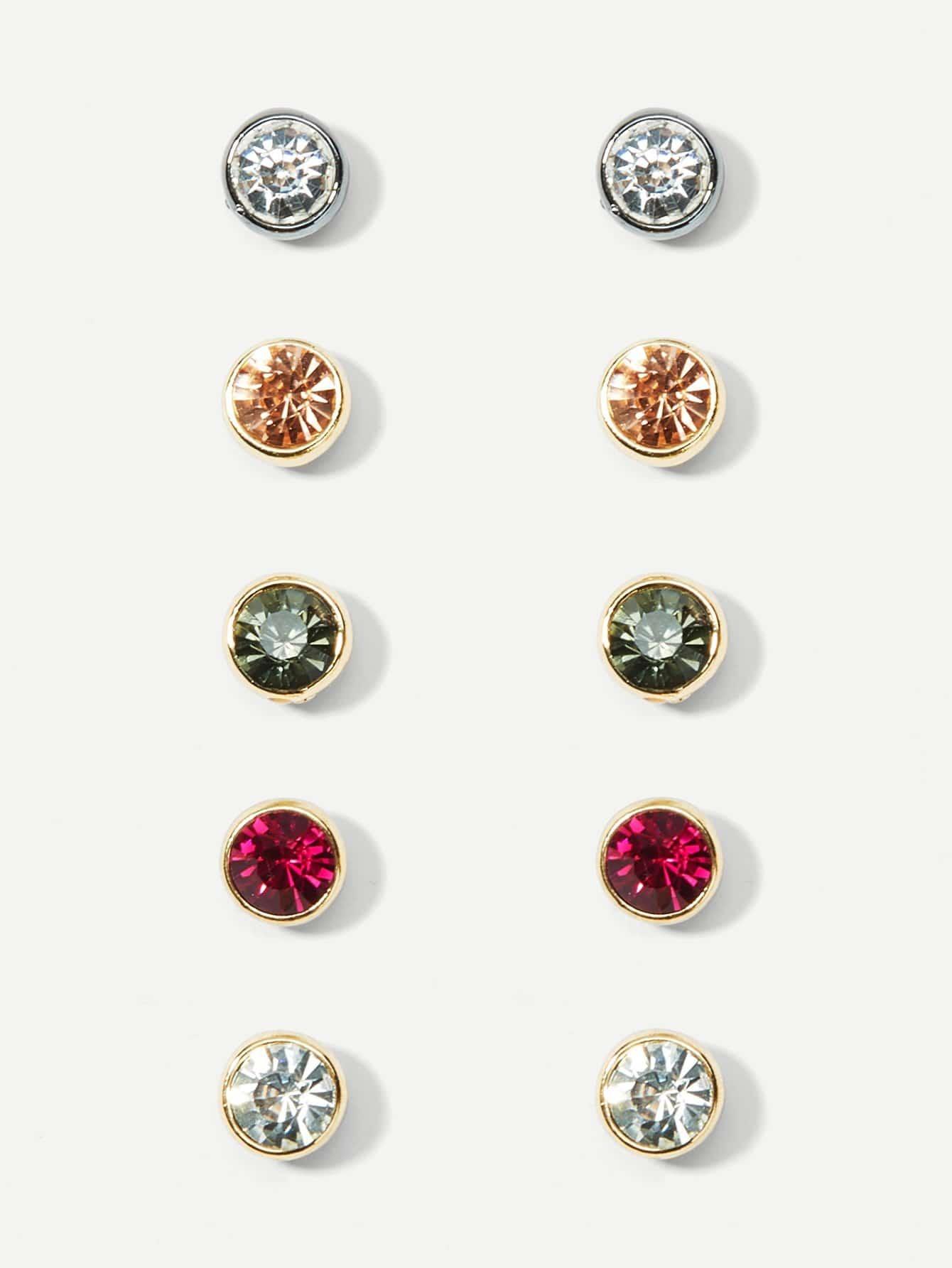 Simple Rhinestone Stud Earrings Set 5pairs rhinestone alloy stud earrings set