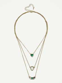 Gemstone Pendant Layered Chain Necklace
