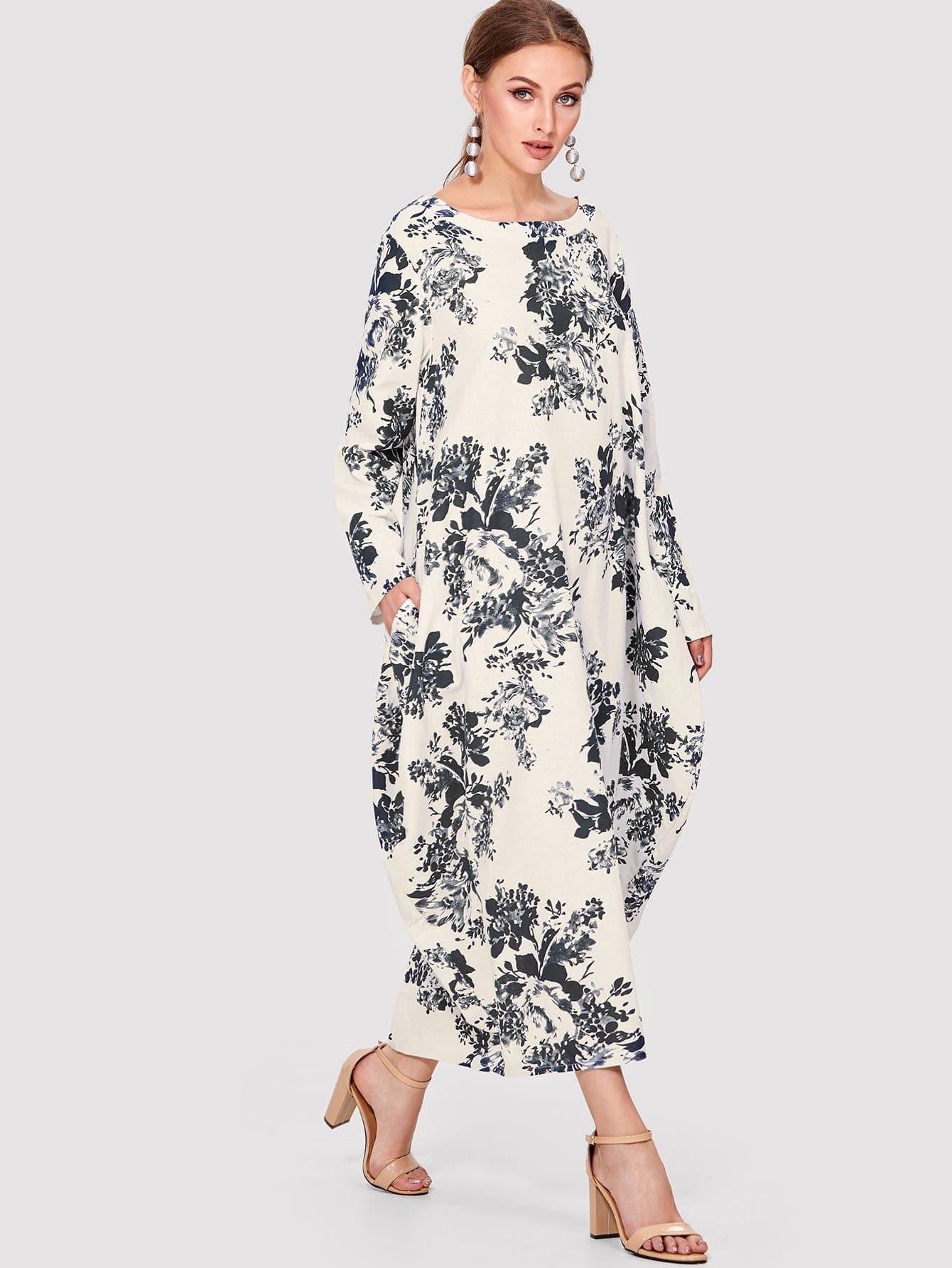 Botanical Print Longline Dress landscape print longline dress