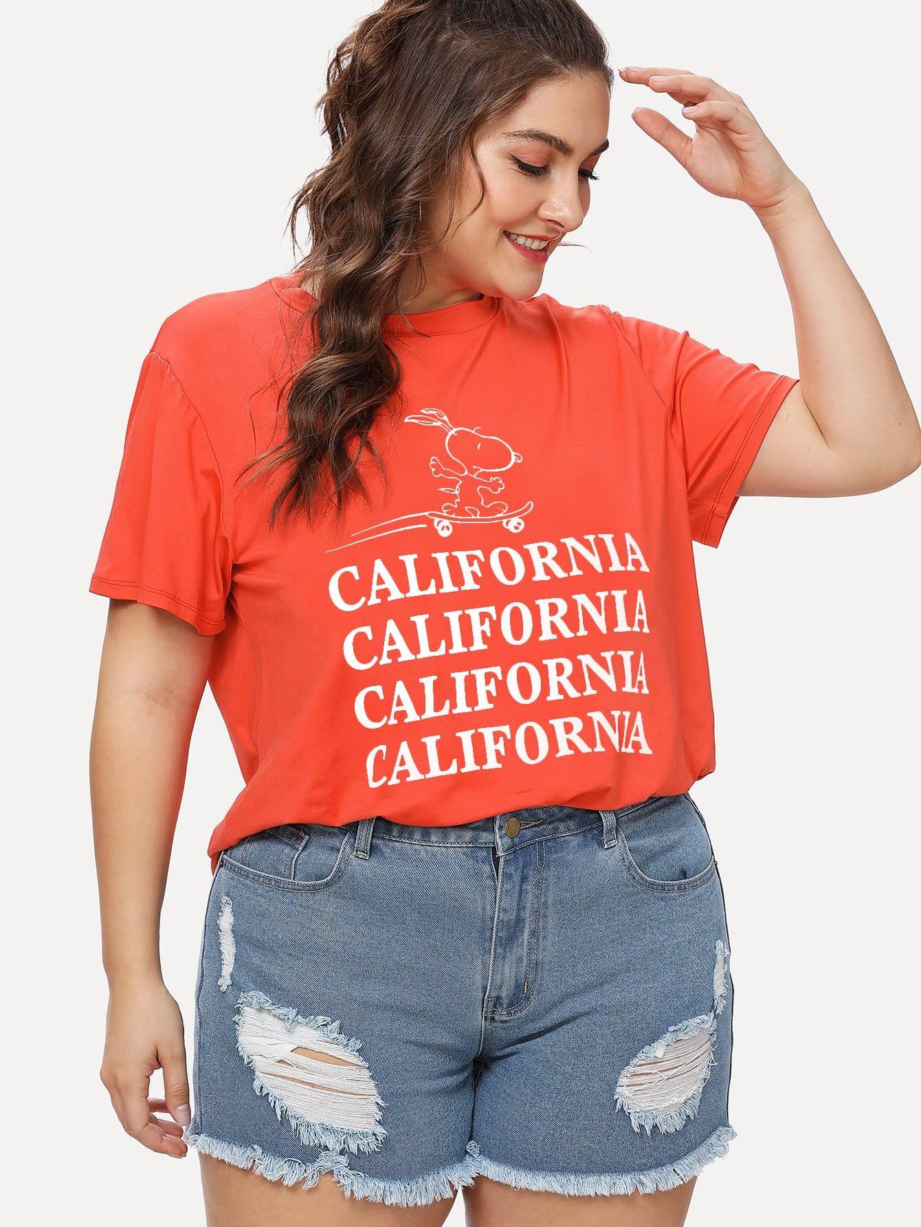 Plus California Cartoon Graphic Tee