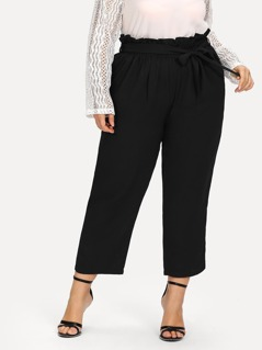 Plus Self Belted Frill Waist Sweatpants