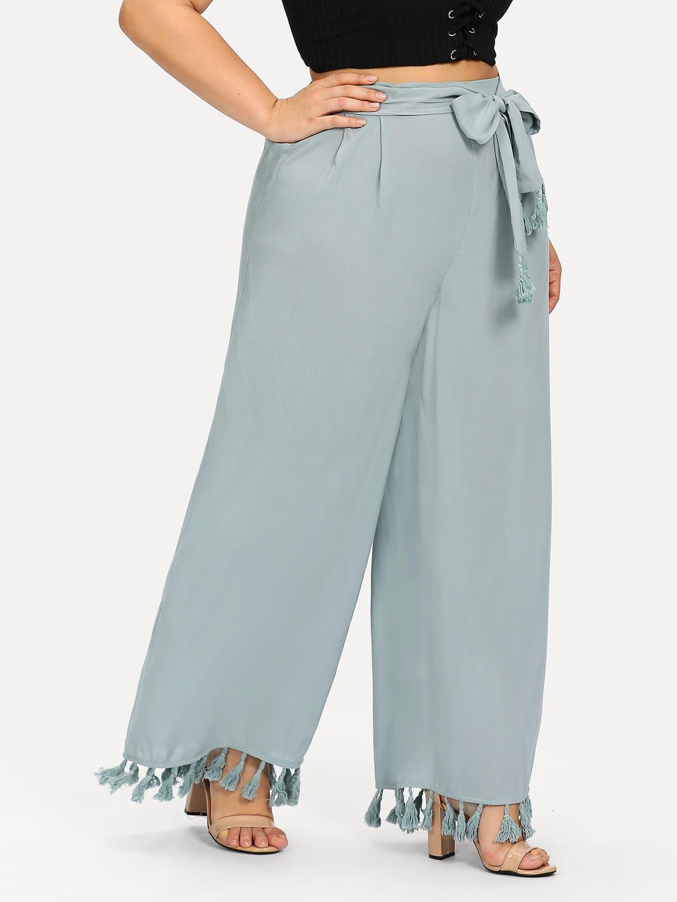 Купить Широкие брюки с кисточками, Franziska, SheIn