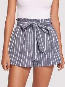 Elastic Waist Pinstripe Shorts