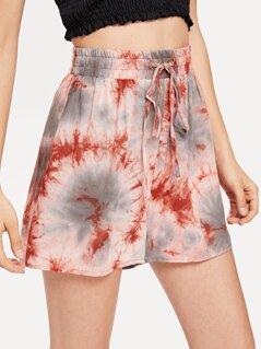 Tie Dye Drawstring Waist Shorts