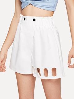 Cutout Hem Elastic Waist Shorts