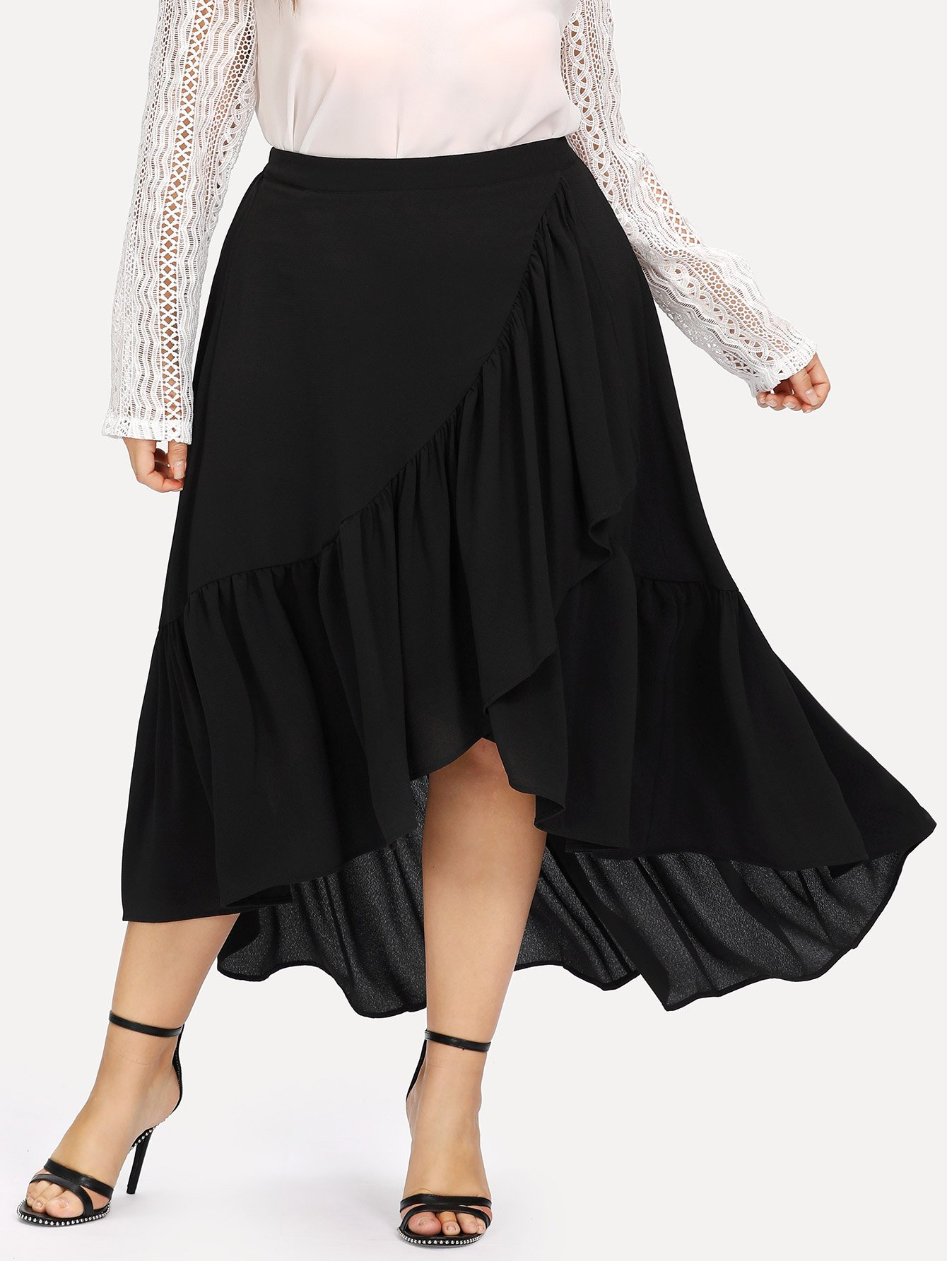 цены Slit Tiered Ruffle Hem Skirt