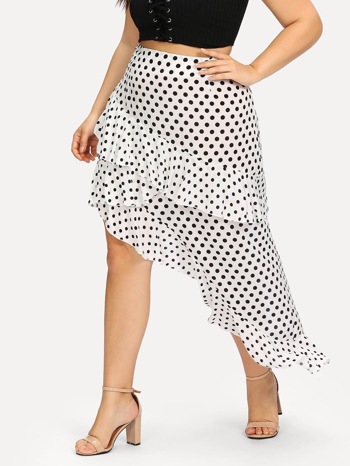 Layered Asymmetrical Ruffle Hem Polka Dot Skirt layered ruffle skirt pants