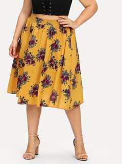Plus Elastic Waist Floral Skirt