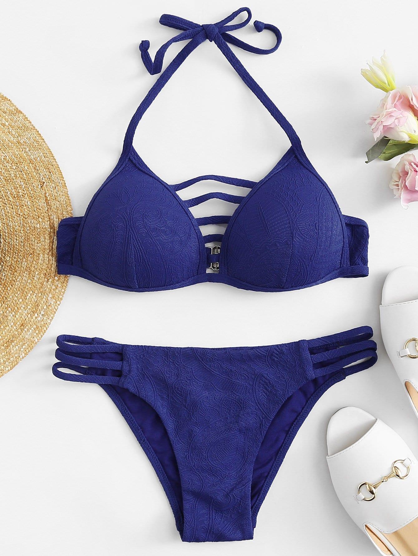 Halter Neck Strappy Bikini Set ripped halter neck strappy bikini set