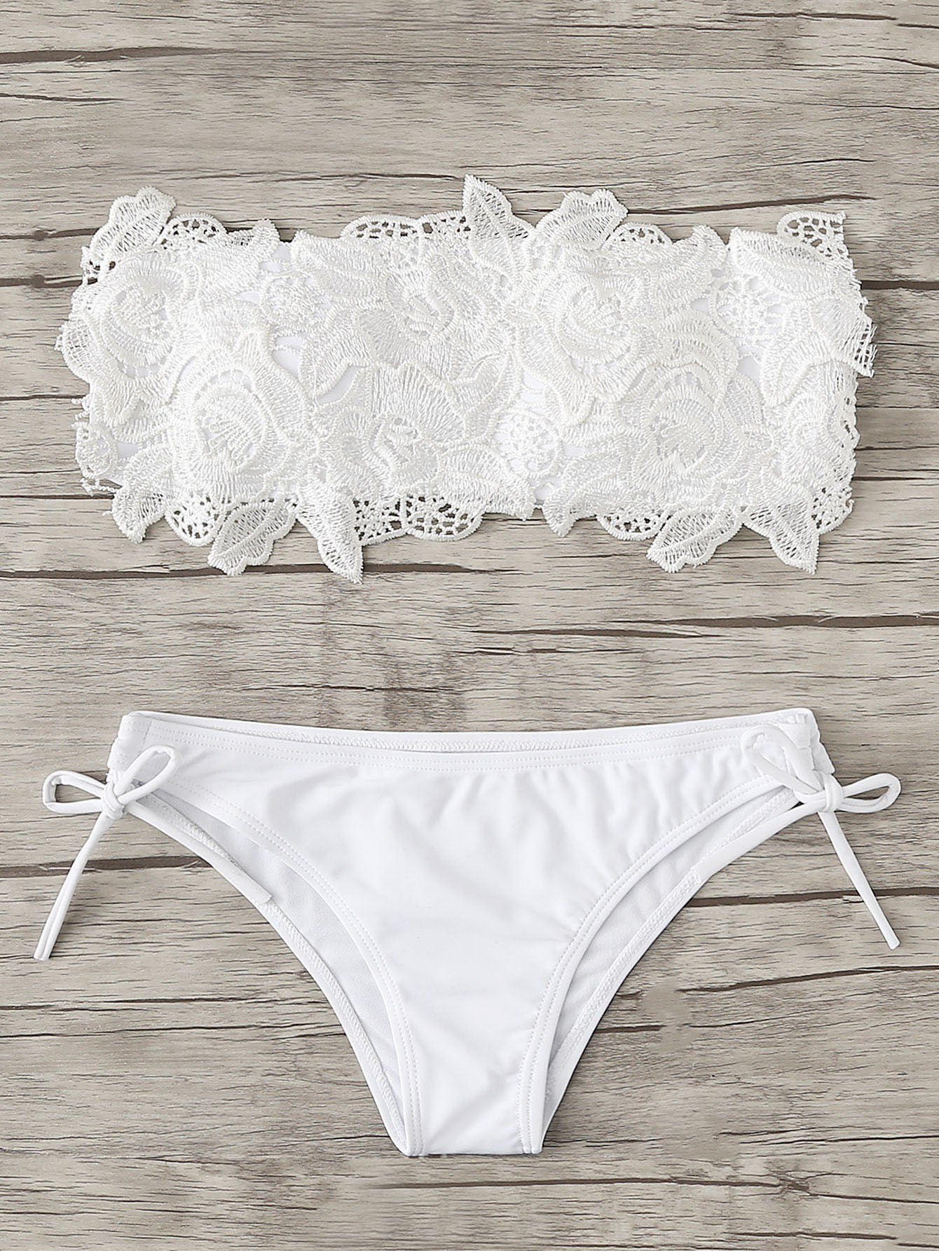Crochet Flower Applique Bikini Set