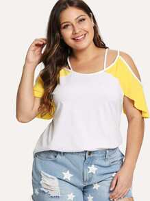 Two Tone Crisscross Cold Shoulder Tee