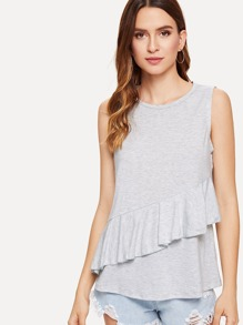 Flounce Trim Heather Knit Sleeveless Top