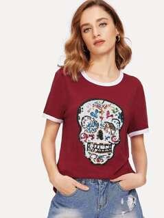 Sequin Embellished Skull Ringer Tee