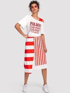 Letter Print Asymmetrical Neck Top & Button Up Skirt Set