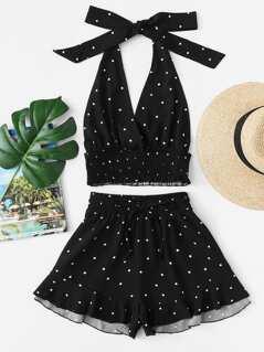 Shirred Polka Dot Halter Top & Shorts Co-Ord