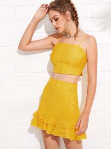 Ripped Cami Top & Layered Ruffle Hem Skirt Set