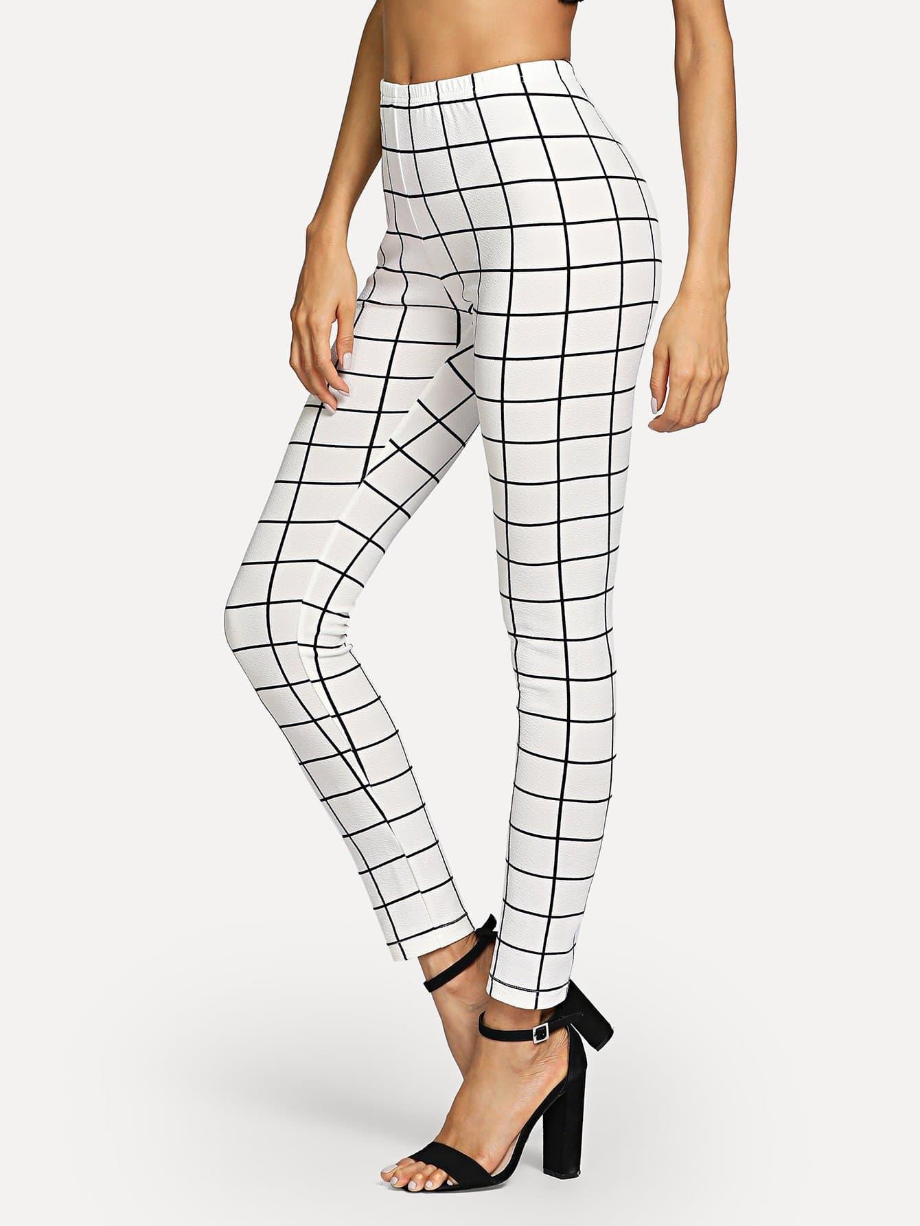 Grid Skinny Leggings empire skinny leggings
