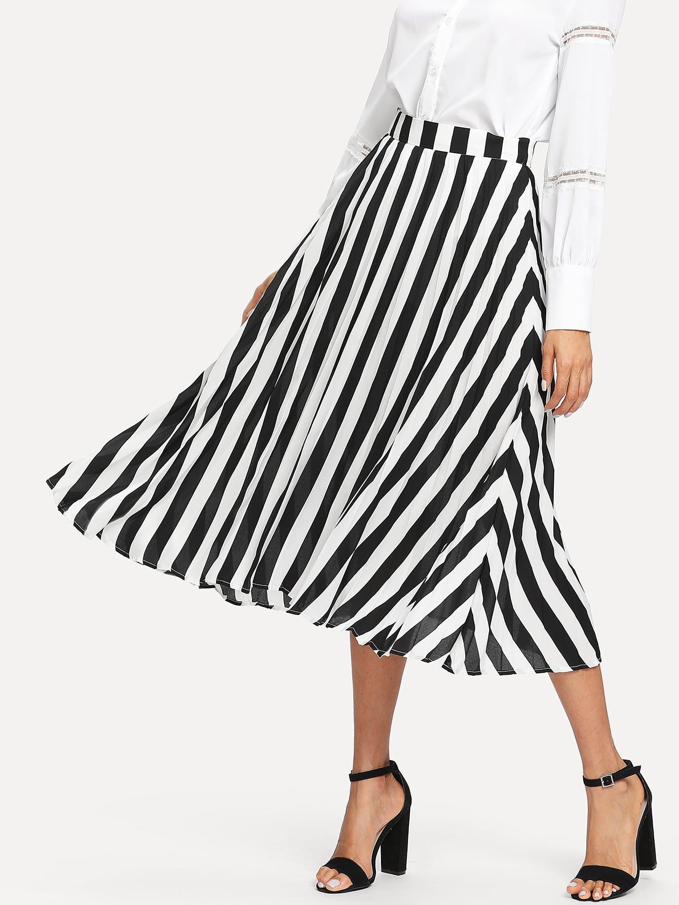 Band Waist Striped Swing Skirt elasticized waist swing skirt