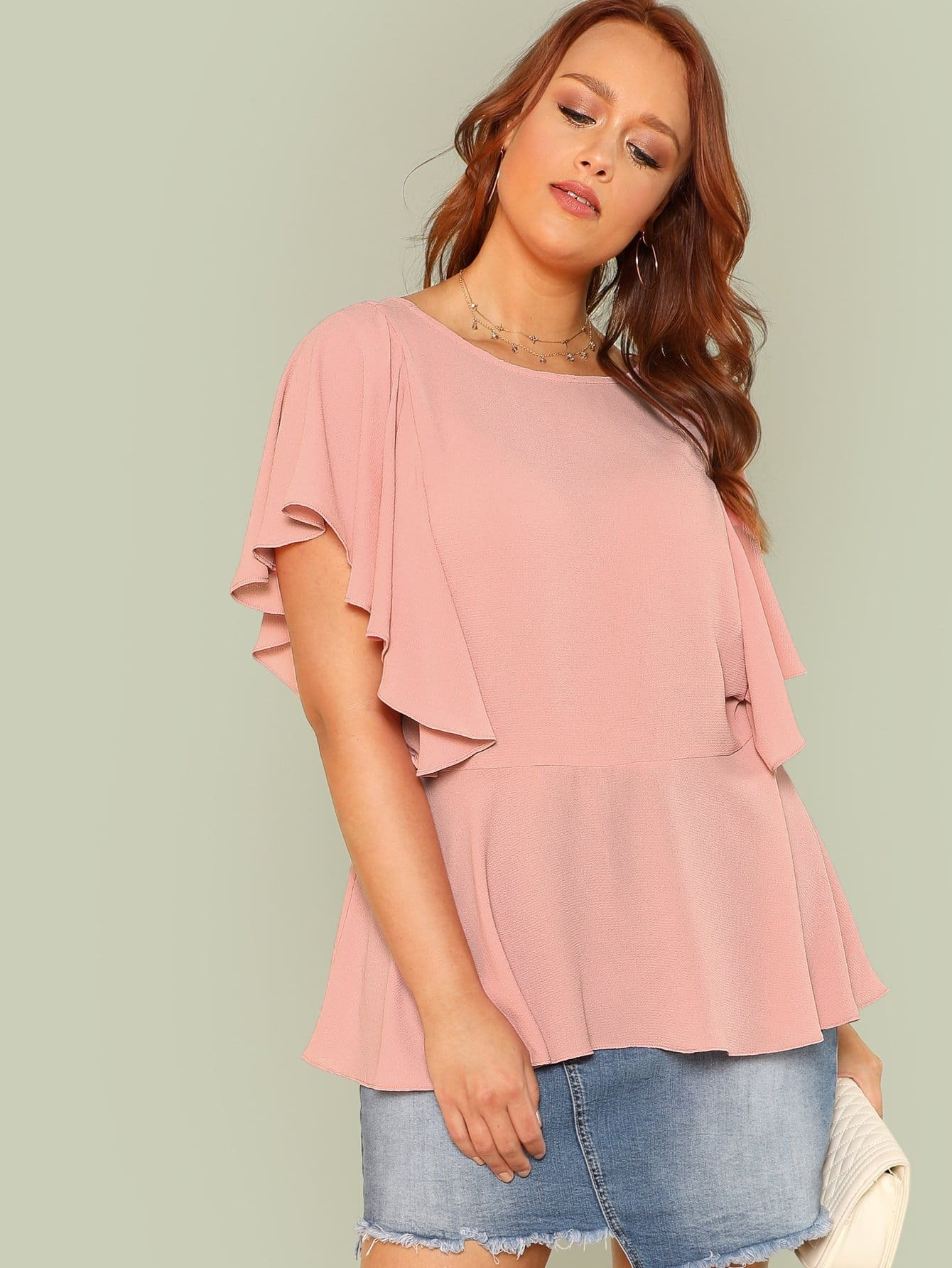 Layered Ruffle Trim Solid Top lace trim solid top