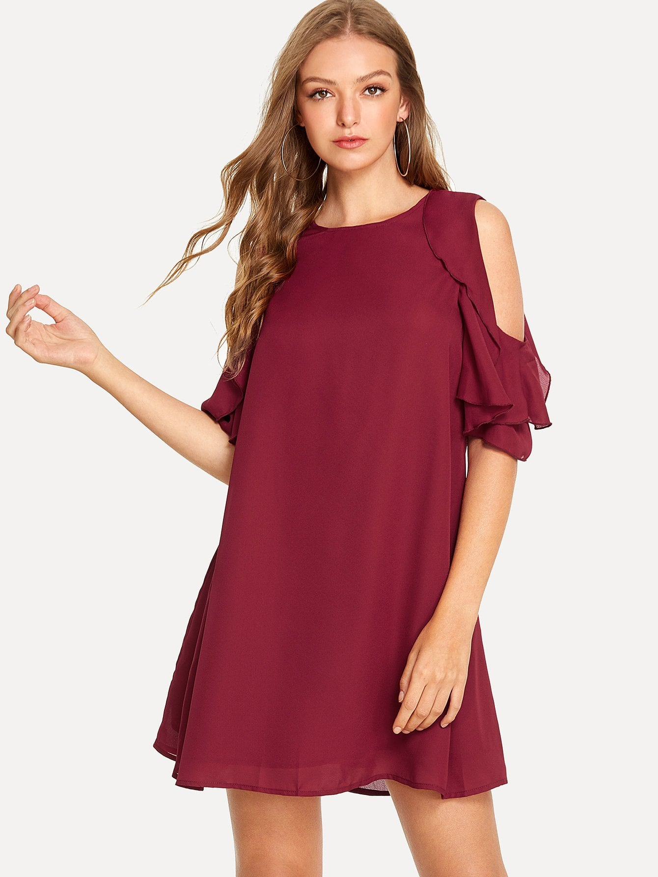 Cold Shoulder Layered Ruffle Trim Tunic Dress цена и фото