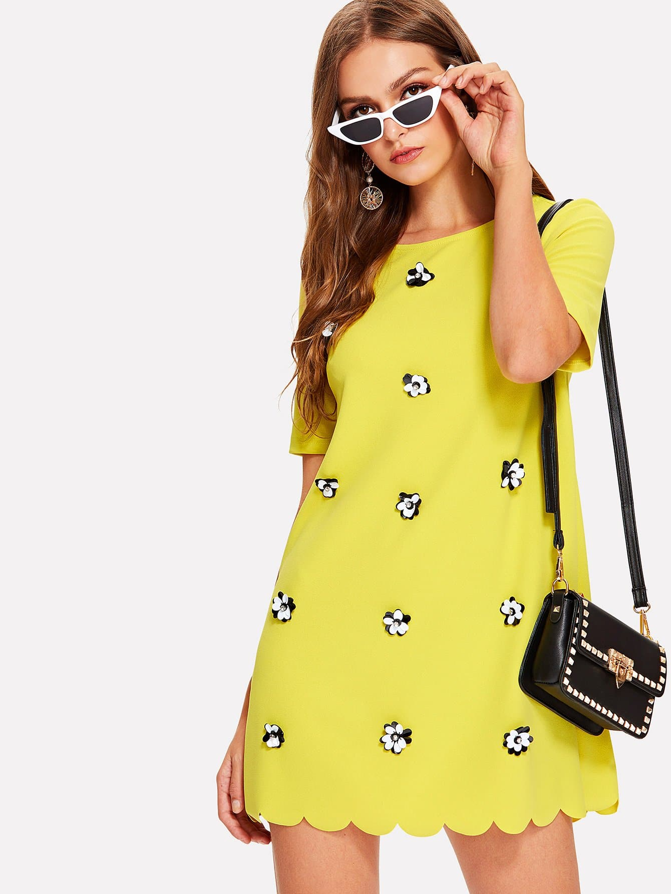 Applique Scallop Trim Tunic Dress embroidered trim tunic dress