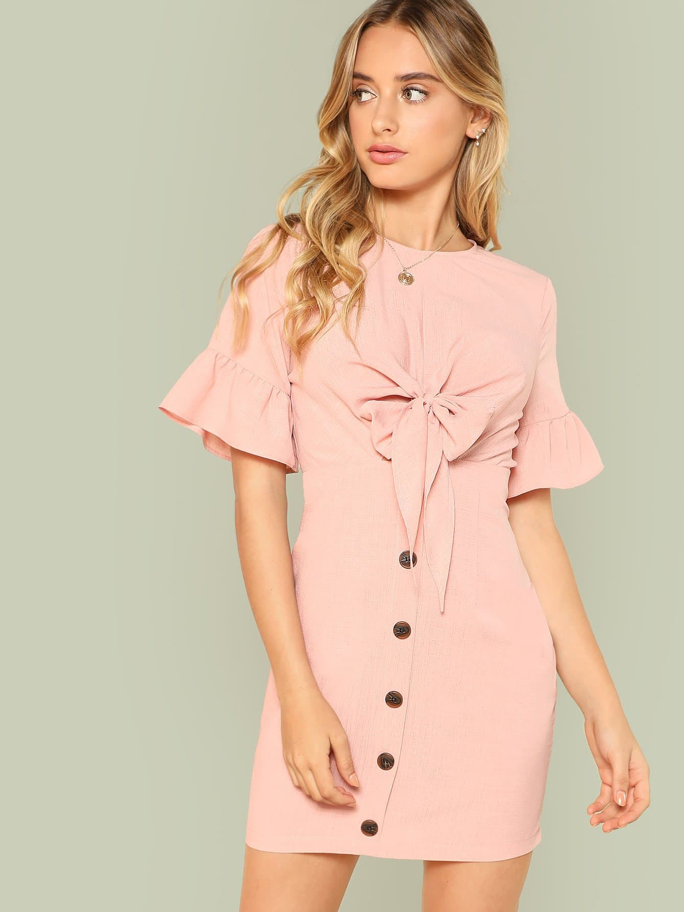 Flounce Sleeve Knot Cutout Front Dress knot front fit