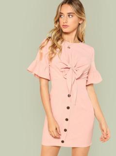 Flounce Sleeve Knot Cutout Front Dress