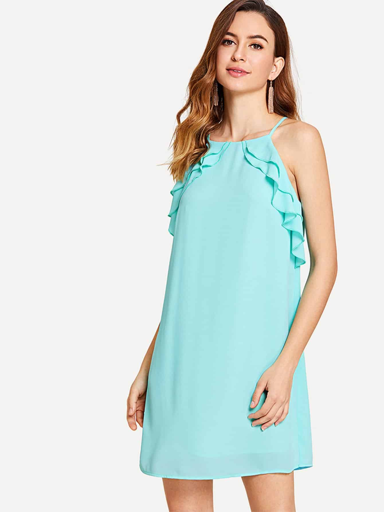 Tiered Ruffle Detail Tunic Cami Dress leaves print backless tiered layer cami dress
