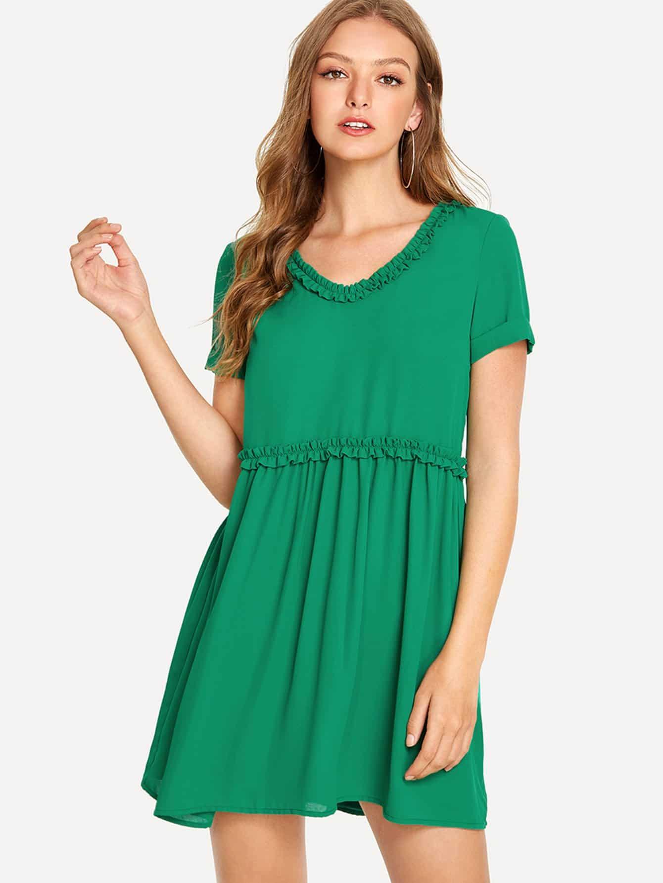 Frill Detail Smock Dress corduroy babydoll smock dress