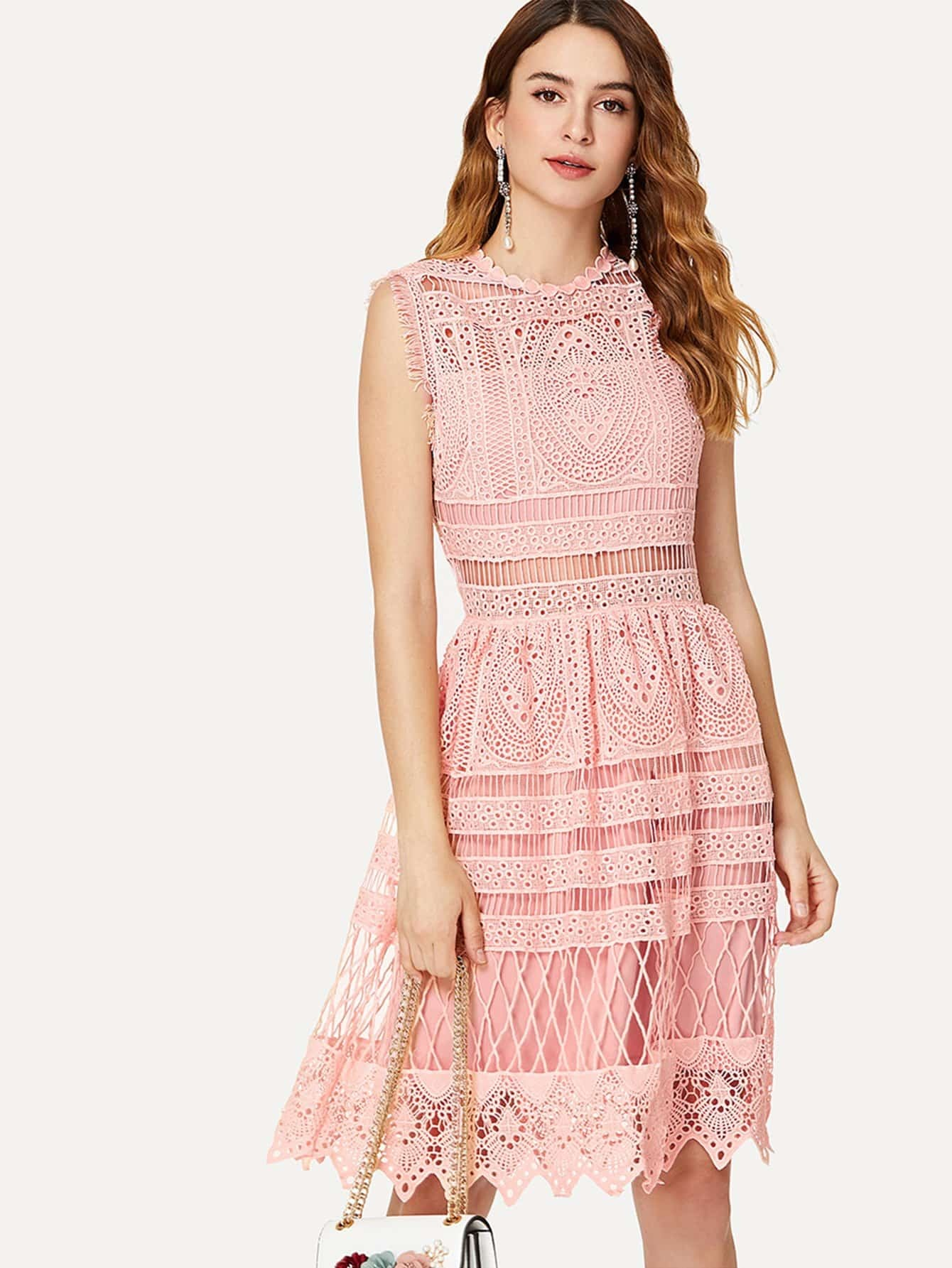 Guipure Lace Overlay Fit And Flare Dress lace overlay fit and flare dress