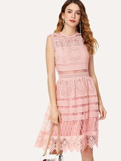 Guipure Lace Overlay Fit And Flare Dress