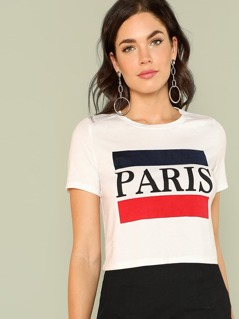 Color Block Letter Print Tee
