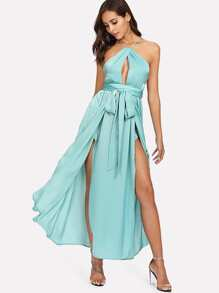 Satin M-Slit Open Back Dress