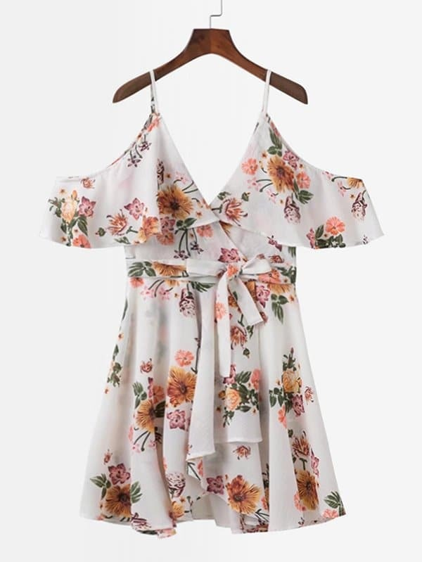 All Over Florals Ruffle Dress all over florals ruffle hem top
