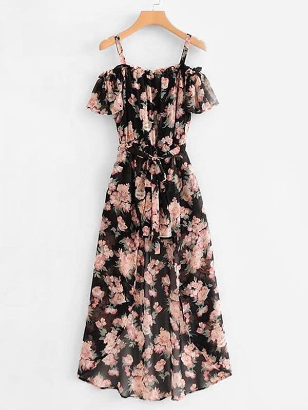 Купить Ромпер шифон в цветочек с поясом и юбка с запахом, null, SheIn
