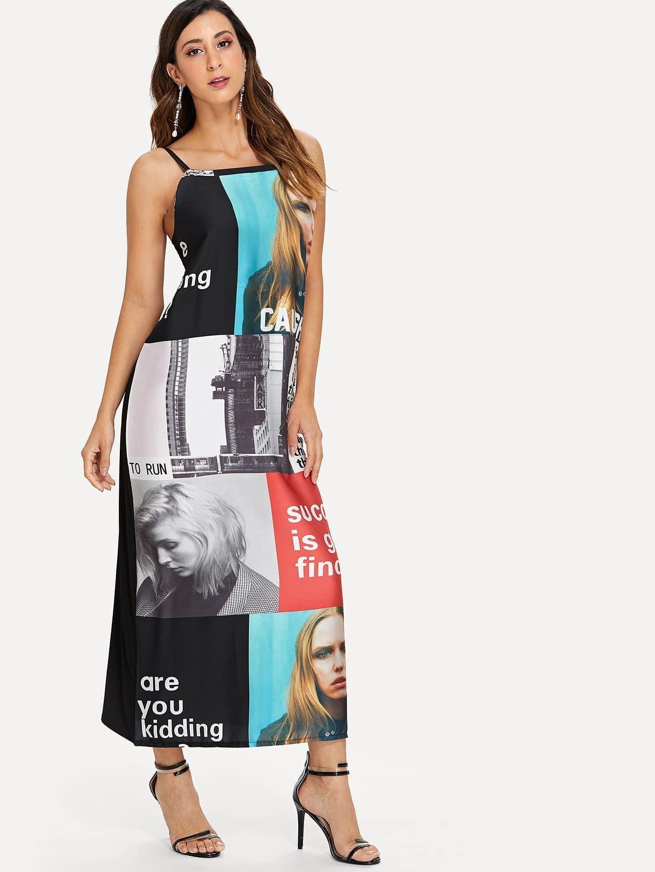 Платье с принтом со слоганом