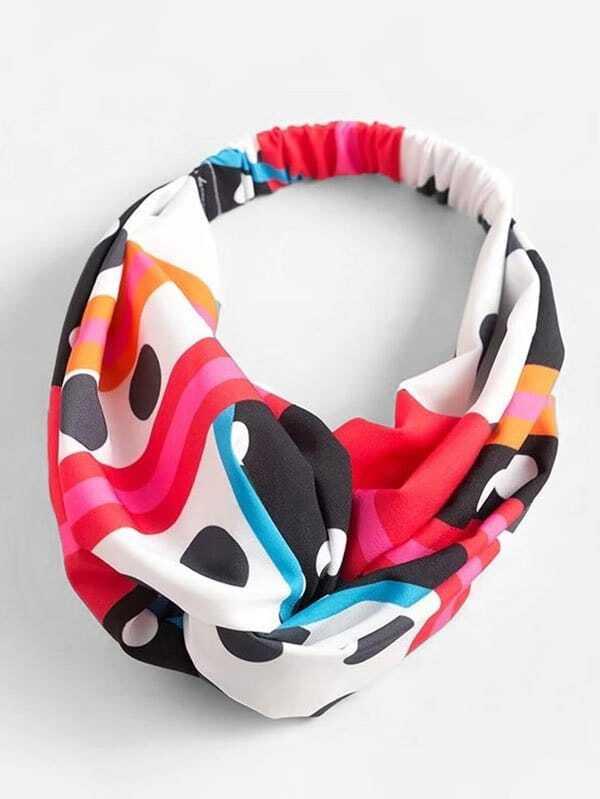 Twist Detail Printed Headband rib twist headband