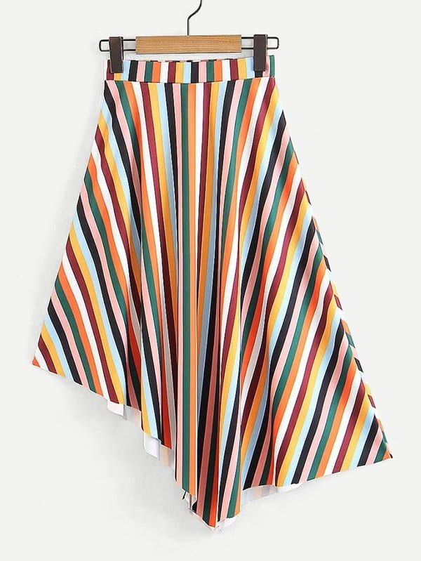 Multi-Stripe Asymmetric Hem Skirt block stripe hanky hem skirt