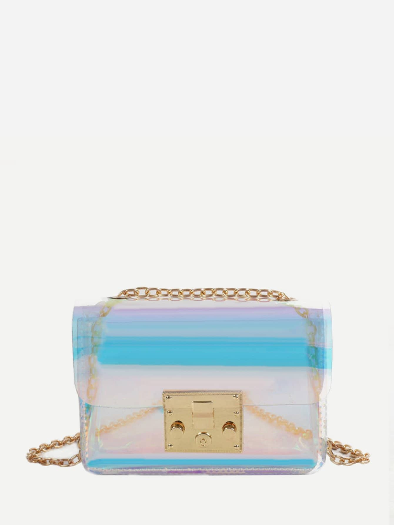 Clear PVC Chain Bag buckle front clear chain bag