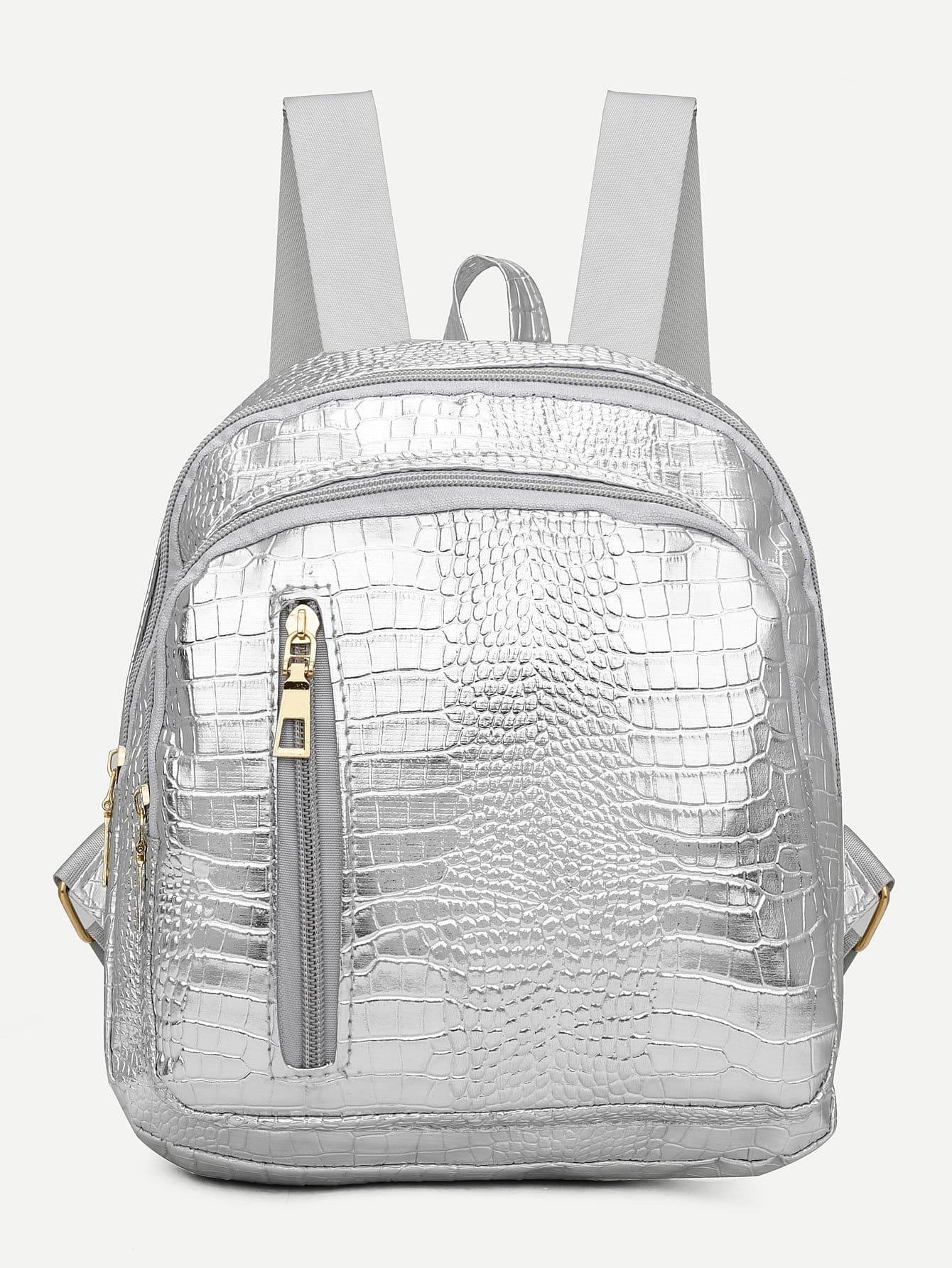 Metallic Crocodile Textured Backpack metallic crocodile textured backpack