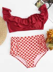 Polka Dot Ruffle Bikini Set