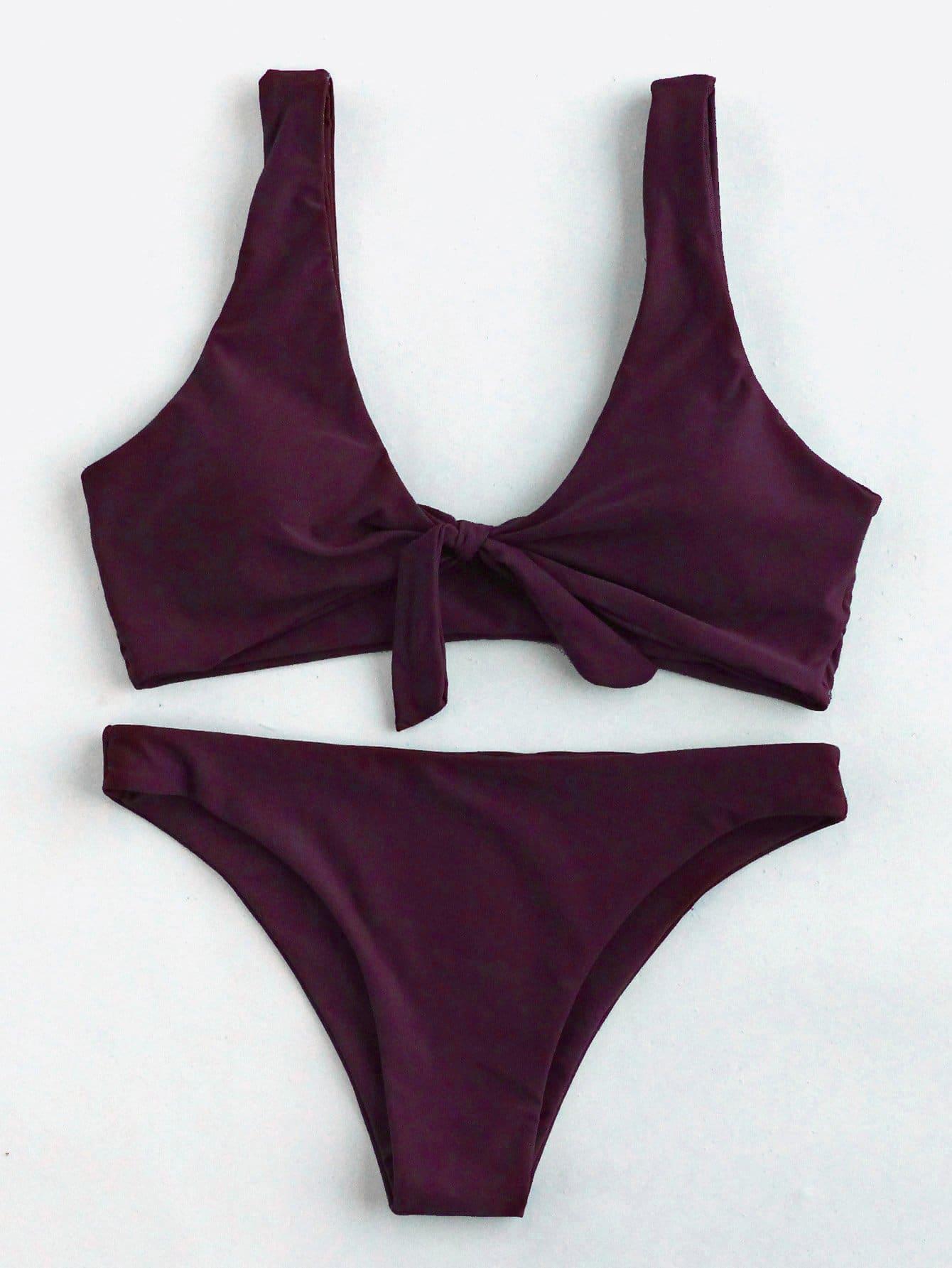Фото Knot Front Bikini Set checker knot bikini set