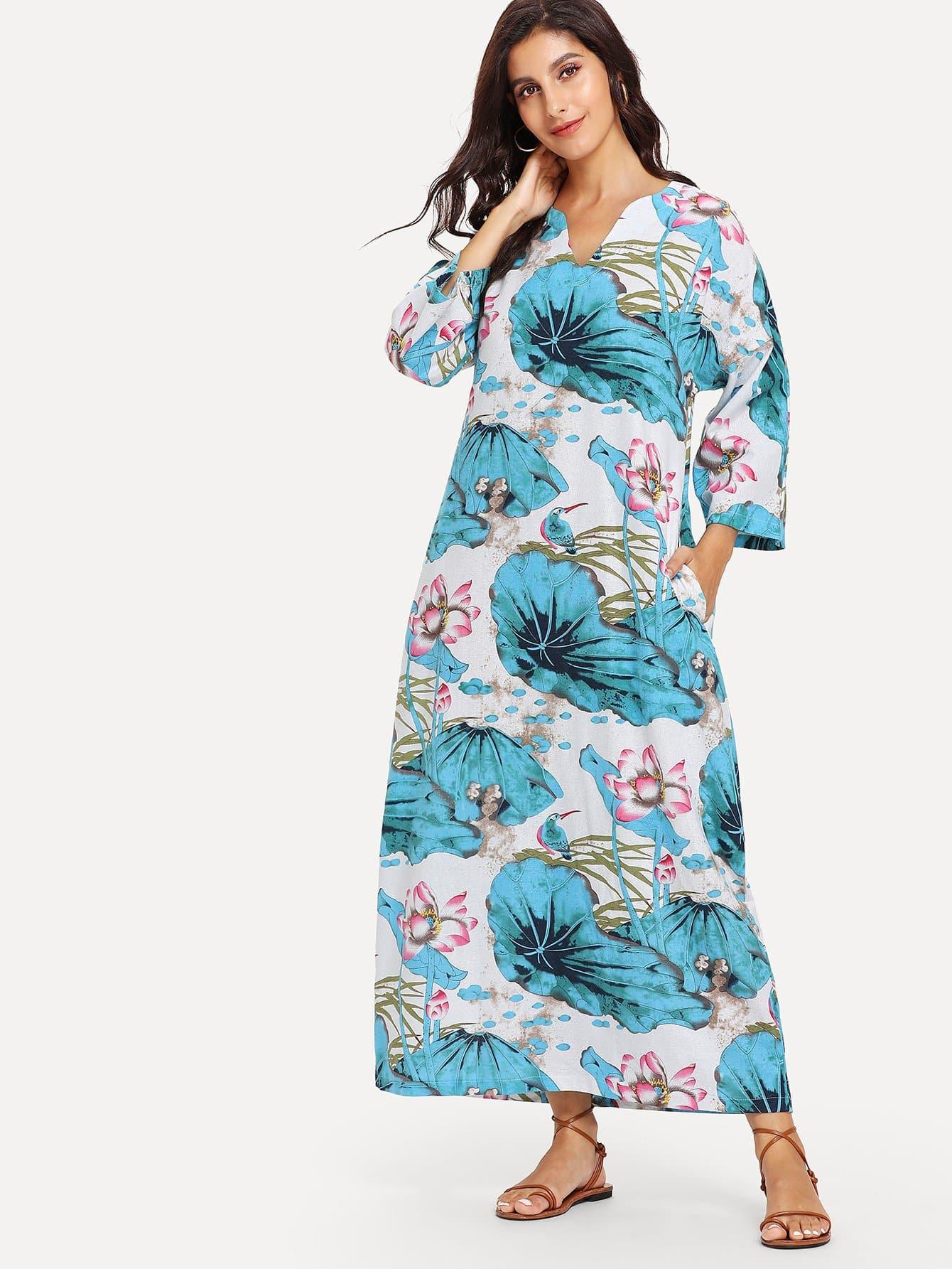 Leaf Print Longline Dress striped longline tshirt